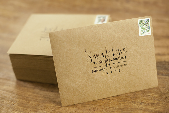 Custom calligraphy on envelopes place cards