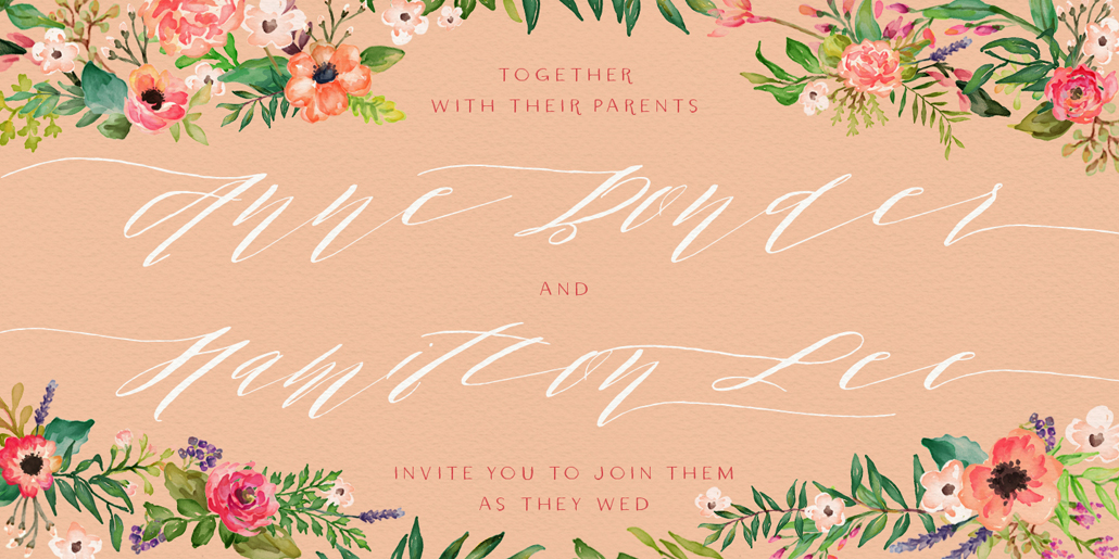 Wedding invitation designed with Rivea cursive calligraphy font